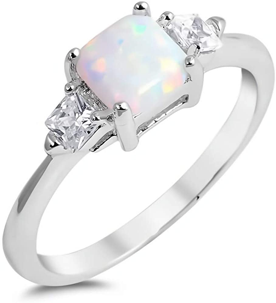Jewelry Gift for Women White With CZ Glitzs Jewels 925 Sterling Silver Created Opal Ring