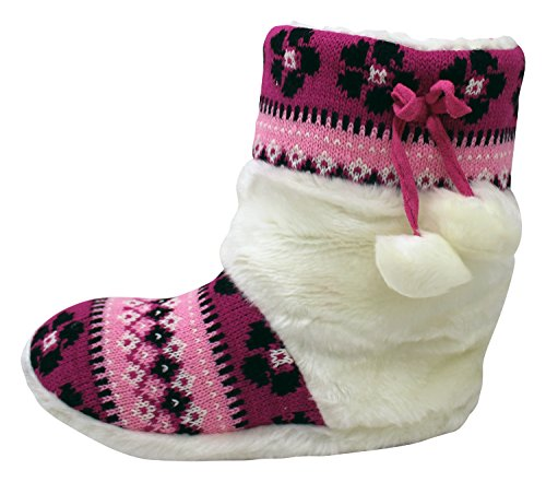 Enimay Womens Slipper Boots Lounge House Relaxed Shoes Winter Snow Flakes Hearts Fuschia VEF3NWh