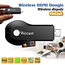 WeCast Ipush dongle Better Than EZCast Miracast Dongle Wifi Streaming to TV Wireless Display as Google Chromecast hdmi 1080p Media Airplay Streamer (No need APK)