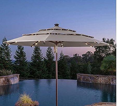 ProShade - Paraguas Solar para Patio o Exterior, 11 LED, Recargable, Aluminio, inclinable, para Mercado: Amazon.es: Jardín
