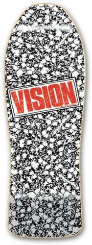 Vision Punk Skull Reissue Skateboard Deck, White, 10 x 30-Inch