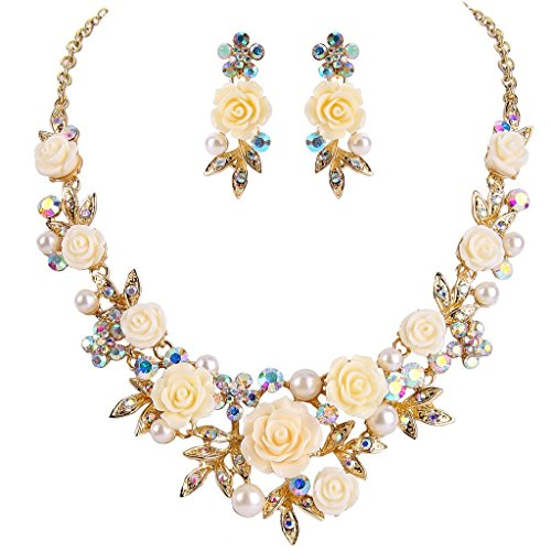 EVER FAITH Crystal Simulated Pearl Rose Flower Leaf Necklace Pierced Earrings Set Clear AB Gold-Tone
