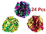 PetFavorites™ Mylar Crinkle Balls Cat Toys Best Interactive Crinkle Cat Toy Balls Ever Independent Pet Kitten Cat Toys for Fat Cats Kittens Exercise, Soft/Light/Right Size (24 Pack)