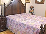 NovaHaat Mauve Bohemian Kani Wool Bedding - Guldastaa (Bouquet) Jamawar Cashmere Woven Reversible Bedspread Throw Blanket with large Floral Motifs from India ~ Queen 108'' x 90''