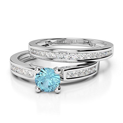G-H/VS 1/2ct Coupe ronde sertie de diamants aigue-marine et diamants blancs et bague de fiançailles en platine 950Agdr-1157