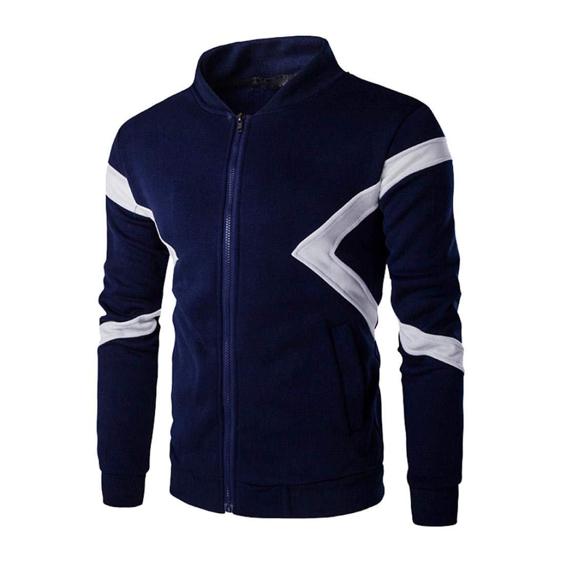 kaifongfu Men Tops,Long Sleeve Men's Pathwork Blouse Color Sweatshirt Top Tee Outwear(Navy,XL)
