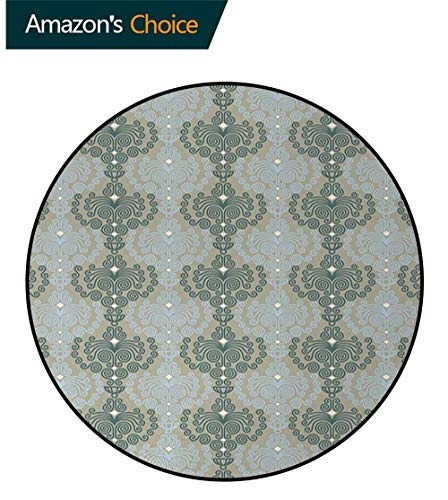 DESPKON-HOME Floral Area Rugs Traditional Design,Abstract Art Damask Desgin Floral Ornament Background Wallpaper Pattern Print Round Shape Area Rugs Rug Large Round Rugs Round-31 Inch,Blue and Taupe