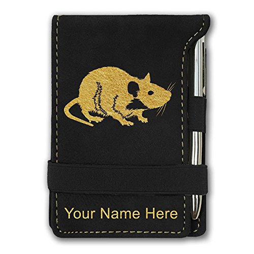 Mini Notepad, Rat, Personalized Engraving Included (Black) by SkunkWerkz