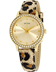 Guess W0648L8 Chelsea Leopard Print Leather Strap Goldtone Womens Watch