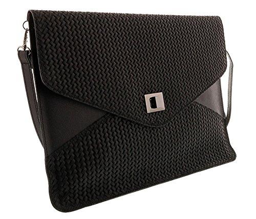 FULVIA Leather HS1154 Black NR Clutch womens for Bag Shoulder CqnaU
