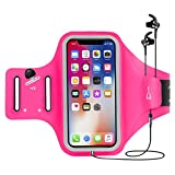 Sports Armband, Elegant Choise Fingerprint Touch Running Armband with Key Pocket Water-resistant Running Arm Bag Adjustable Velcro Armband for iPhone X 8 7 6 6S, Galaxy S9 S8 S7 Edge and More (Rose)