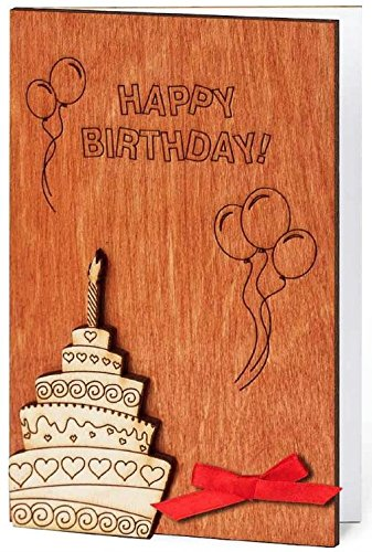 Handmade Sustainable Wooden Happy Birthday Card Bday Cake w Candle Inside Bday Balloons and Confetti Unique Gift Idea Best Anniversary Congratulations Present for Man Woman Baby Child Kid Business e