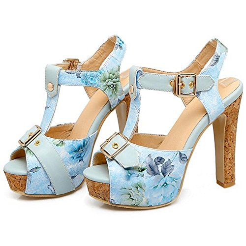Femmes Sandales Chunky Heel Blue JOJONUNU w4Uxw