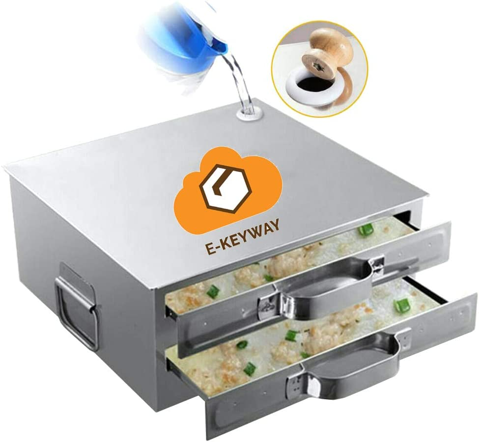 E-KEYWAY Chinese Rice Noodle Roll Food Steamer with Extra Tray 430 Stainless Steel Square Tier/Layer Cooking Cuisine Guangdong Recipes Cookware (Tier 2)
