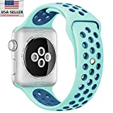 BESTeck 42mm Soft Silicone Replacement Band with Ventilation Holes for Apple Watch Nike+, Series 2, Series 1, Sport, Edition, M/L Size (Green / Blue)
