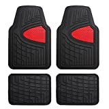 FH Group Heavy Duty Tall Channel F11311RED Rubber Floor Mat Red Full Set Trim to Fit