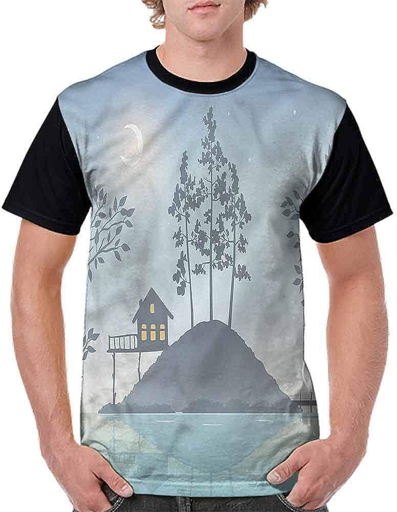 Loose T Shirt,Night Scenery Tranquil Fashion Personality Customization