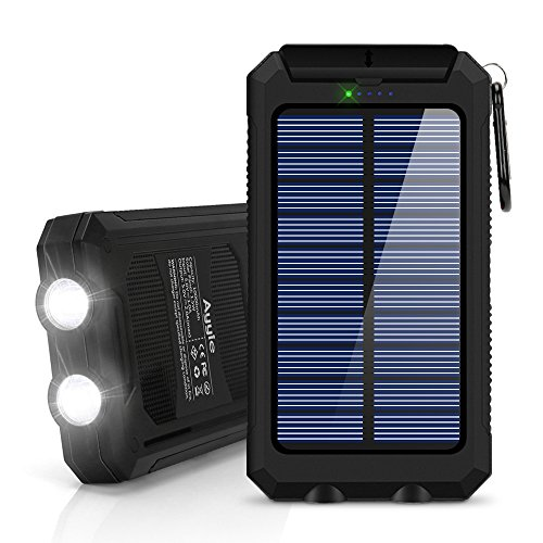 Solar Charger, BESWILL 10000mAh Dual USB Ports IP67 Water-Resistant Portable Solar Power Bank Phone Charger with 2 Flashlights Carabiner & Compass for iPhone iPad iPod Cell Phones Tablet Camera by BESWILL
