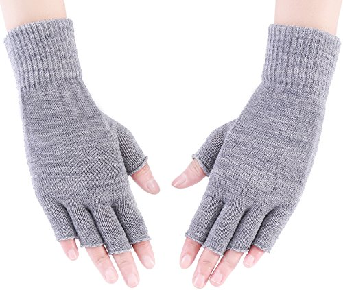 Fingerless Mitts Knit Pattern (Warm Fingerless Gloves Kids Knit Wrist Warmers Hand Glove Mittens for Girls Boys Gray)