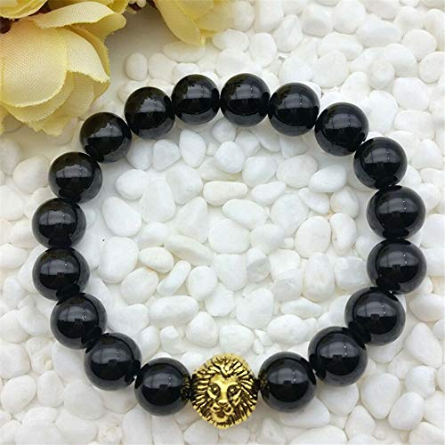 (Mens Black Onyx Alloy 10mm Glass Beaded Stretch Bracelet New)