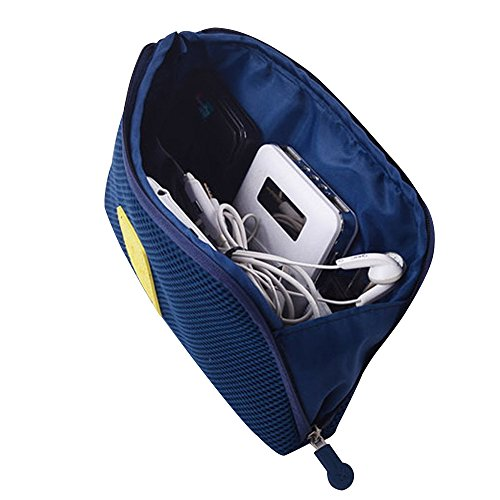 Electronics Organizer Accessories Bag Case, Portable Makeup Bag/Travel Digital Carrying Pouch Multifunction Cellphone/Headset/USB Data Cable/Charger Hard Drive Carry Case (Size L,Navy) - Happy Hours