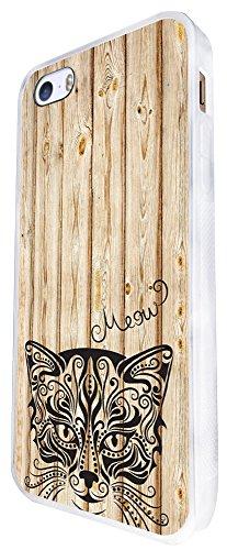 403 - Wooden Background Full Aztec Cat Face Design iphone SE - 2016 Coque Fashion Trend Case Coque Protection Cover plastique et métal - Blanc