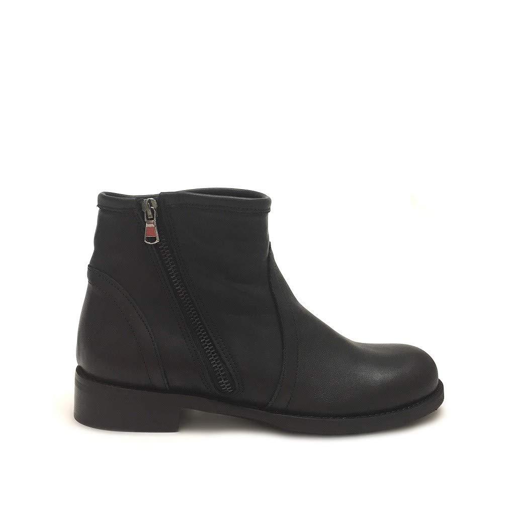 Shoe gar Stivaletti Bassi Donna in Neri con Zip Vera Pelle Made in Donna Italy Nero e81245