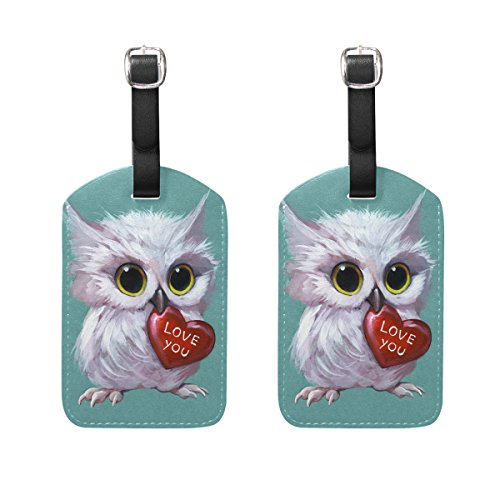 Lorvies 3D Owl Holding A Heart Luggage Tags Travel Labels Tag Name Card Holder For Baggage Suitcase Bag Backpacks  2 Pcs