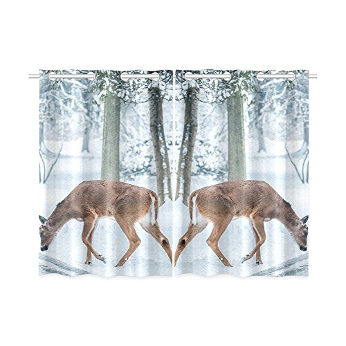 your-fantasia Christmas Deer Street Snow Winter Nature Animal Window Curtain Kitchen Curtain Two Pieces 26 x 39 inches by your-fantasia