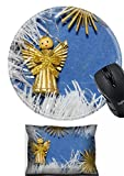vintage angel figurines - MSD Mouse Wrist Rest and Round Mousepad Set, 2pc Wrist Support design 30456012 vintage toy angel figurine on old cardboard with straw snowflakes