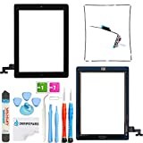 Omnirepairs-For iPad 2 (2nd Generation) Touch Screen Digitizer Glass Replacement + Home Button Flex Cable OEM Assembly + Midframe Bezel + Pre-installed Adhesive Tape + Screen Protector + Tools (Black)