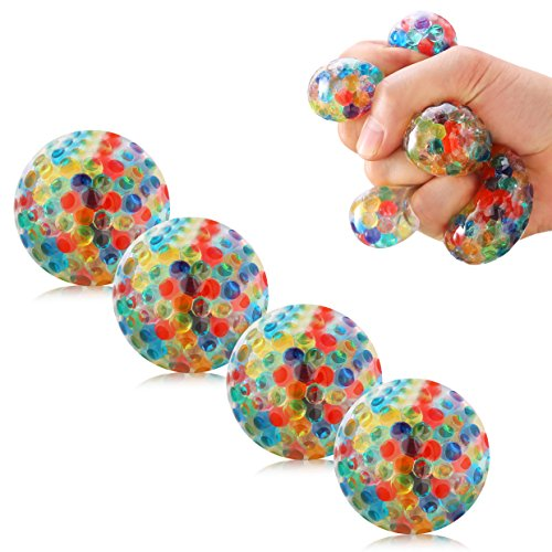 Mesh Squishy Ball Anti Stress Balls 7CM Spongy Rainbow Ball Rubber Multi Color Vent Squeezing Stress Relief Ball- For Kids & Adults.Stress Squishy Toys For Autism, ADHD, Bad Habits & (Halloween Party Games For Adults At Work)