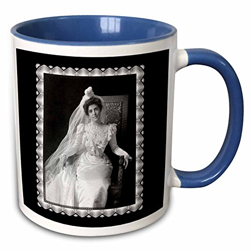 3dRose BLN Vintage Photographs of History and People 1800s - 1900s - Wedding Picture C. 1901 Portrait of a Victorian Era Woman sitting in an Ornate Chair - 15oz Two-Tone Blue Mug (mug_160827_11)