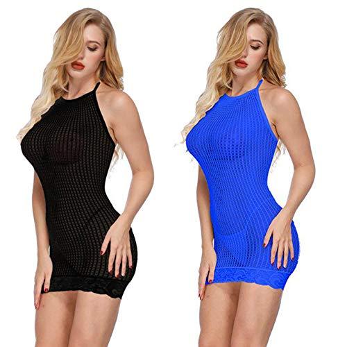 2 Pack Women Sexy Lingerie Rainbow Fishnet Babydoll Halter Stretch Chemise Mini Dress One Size (Black+Blue)