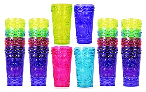 (Set of 24 Party Tiki Cups! BPA Free 16 Ounce Tumbler Drinkware Set Luau Shape! 4 Bright Colors! Tiki Mugs! Reusable Plastic Party Cups!)