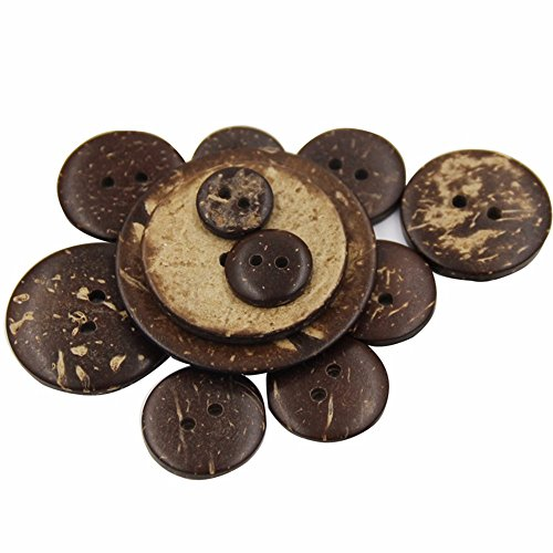 Gaobei Brown Coconut Shell Wooden Button 100 Pcs New Thick (New Sewing Craft Buttons)