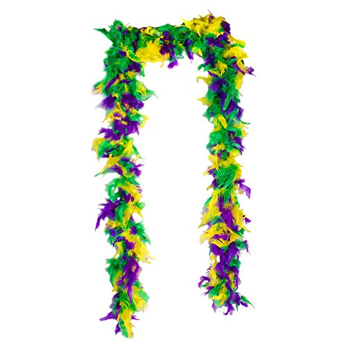 Windy City Novelties Mardi Gras Feather Boa Green, Purple and Gold