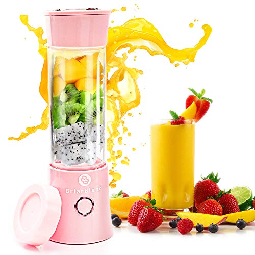 BriarBlend Portable Glass Smoothie Blender | Personal Travel Juicer Cup 380ML | Multifunctional Small Blender for Smoothies and Shakes with 6 Stainless Steel Blades | 4000 mAh USB Rechargeable Battery