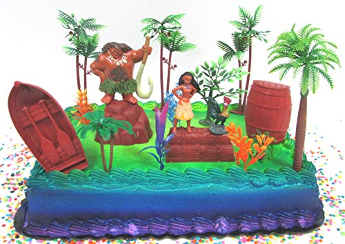 Moana Tropical Themed Birthday Cake Topper Set Featuring Moa