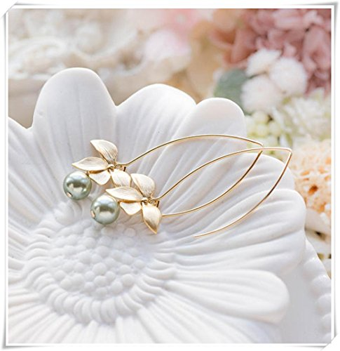 no see long time Sage Green Pearl Dangle, Earrings,Gold Orchid Flower Earrings, Green Drop Earrings,Sage Green Wedding Earrings,Bridal Jewelry,Bridesmaid Gift