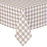 Lintex Buffalo Gingham Check Indoor/Outdoor Casual Cotton Tablecloth, Buffalo Plaid 100% Cotton Weave Kitchen, Patio and Dining Room Tablecloth, 52 x 52 Square, Sand