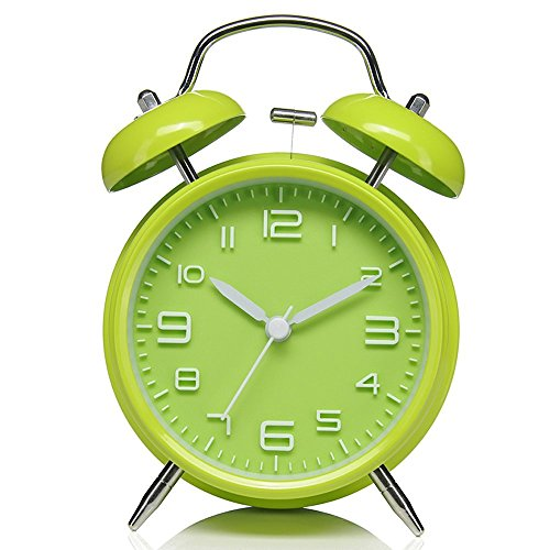 DreamSky Twin Bell Alarm Clock With Backlight, Non Ticking & Silent , Large Number Display , Loud Alarms For Heavy Sleeper , Battery Operated, Green