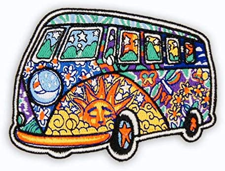 60s , 70s Hippie Clothes for Men Bus Embroidered Patch 7.6cmx5.6cm $3.99 AT vintagedancer.com