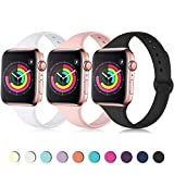 Zekapu Sport Band Compatible for Apple Watch 38mm 40mm, Soft Silicone Narrow Slim Sport Replacement Wristband for iWatch Series 4, Series 3, Series 2, Series 1 Women, Black, White, Pink