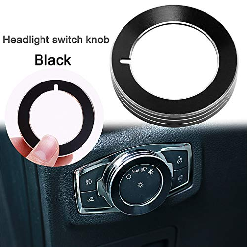 Aluminum Alloy Car Inner Headlight Lamp Adjust Control Knob Ring Button Cover Trim for Ford F150 XLT 2016 2017 2018(Black)