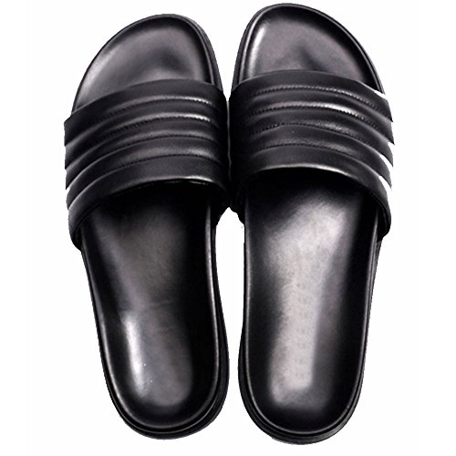 Fulinken Mannen Lederen Indoor Slippers Thong Sandaal Casual Heren Strand Slipper Schoenen Zwart