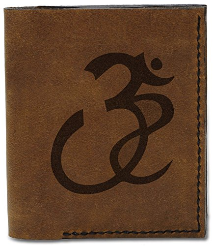 Men's Signs Handmade Leather Buddhish MHLT Natural Buddhish Om Signs 04 Genuine Om b 15 Wallet rTERgqwr4
