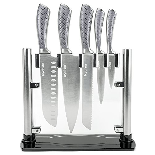 Set of 5 Tizona Kitchen Knives - Premium Stainless Steel Cutlery with Patterned Handles & Clear Acrylic Display Case, Professional Cutting Utensils by Kÿchen ()