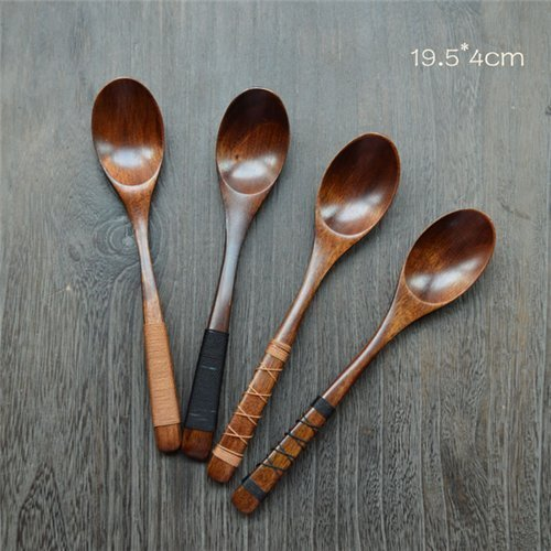 Auch 4Pcs Handmade Japanese Style Wooden Kids Soup Spoons Natural Wood Rice Serving Tableware Flatware Set with Tied Line on Handle(19.5cm)
