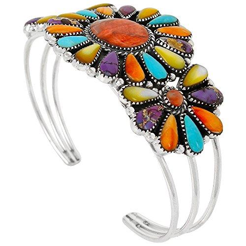 Southwest Style Genuine Turquoise 925 Sterling Silver Cluster Bracelet (Multi-Gemstones)